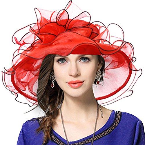 VECRY Women's Church Kentucky Derby Cap British Tea Party Wedding Hat (Floral-Red)