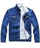 Plaid&Plain Men's Fleece Lined Borg Collar The Sherpa Trucker Jacket Jean Denim Jacket 708# Blue M