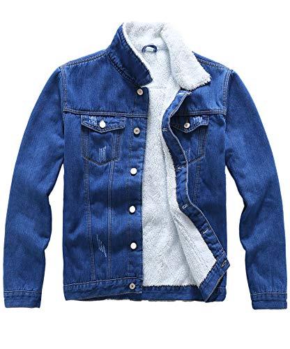 Plaid&Plain Men's Fleece Lined Borg Collar The Sherpa Trucker Jacket Jean Denim Jacket 708# Blue S