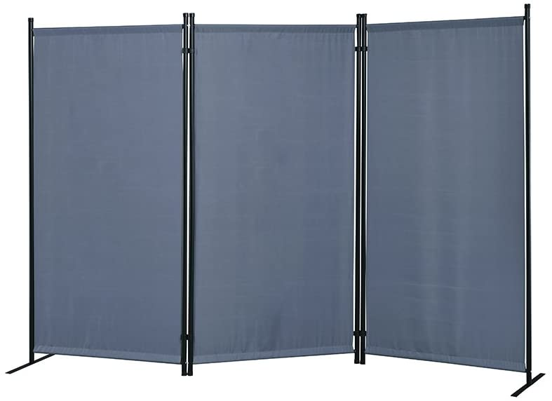 "Proman Products Galaxy Outdoor/Indoor Room Divider (3-Panel), 102"" W X 16"" D x 71"" H, Gray"