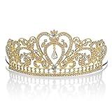 Topwedding COLORFUL AUSTRIAN RHINESTONE CRYSTAL TIARA CROWN BRIDAL PAGEANT HEADPIECE FOR ADULT,Gold & Clear