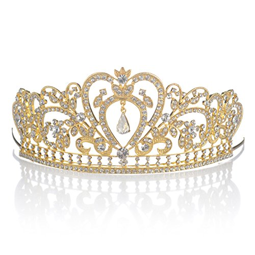 [Topwedding COLORFUL AUSTRIAN RHINESTONE CRYSTAL TIARA CROWN BRIDAL PAGEANT HEADPIECE FOR ADULT,Gold &] (Beauty Pageant Queen Costume)