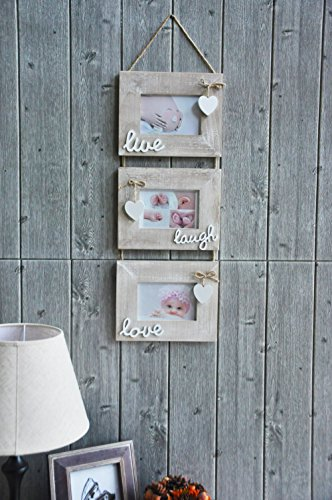 """Yaetm Live Laugh Love Collage Hanging Picture Frame 4x6"""", Solid Wood 3 Photo Frames Set, Wall Mount Verticval Display, Rustic Grey - 【Unique Design】: Made of rustic solid wood, shabby chic style, high definition real glass, Each frame attached a cute HEART and live laugh love, Hanging on wall with a rope. This haning frame is carefully designed for sweet family wall decor. 【DIMENSION】: Total display dimension is 30 x 9.5 inch with hanging rope. Each 4x6 rustic frame outline size is about 9.5x7.5 inch, holds 4 x 6 inch photographs/pictures/portraits/art prints. 【Easy to use & install】: With the hanging rope, the photo frame can be easily mounted on the wall. Each frame comes with easy opening tabs at the back to make the photograph changing more easy. - picture-frames, bedroom-decor, bedroom - 51qnESZ2Z7L -"""
