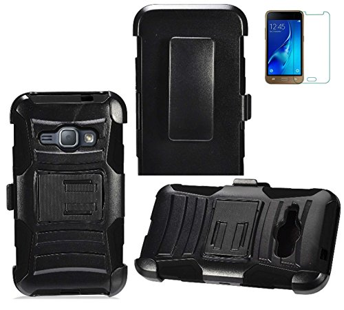 Tempered Glass+2Layer Rugged Rubber Case Cover w/Holster Belt Clip for Samsung Galaxy J1 2016 / AMP 2 / Straight Talk Galaxy J1 Luna 4G LTE / Express 3 Phone (Black on Black)