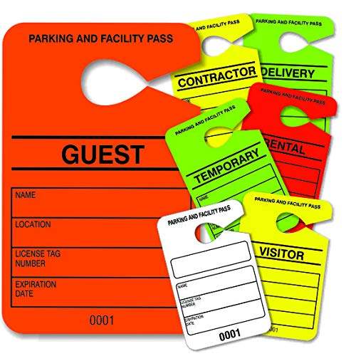 Hang Tag Parking Permit - Guest Parking Pass - Numbered Facility Pass - Car Parking Management - HViz Neon Orange 100 Units - Disclaimer on Back - Large 3.5 x 5.5 in - 10point/250gms Card Stock