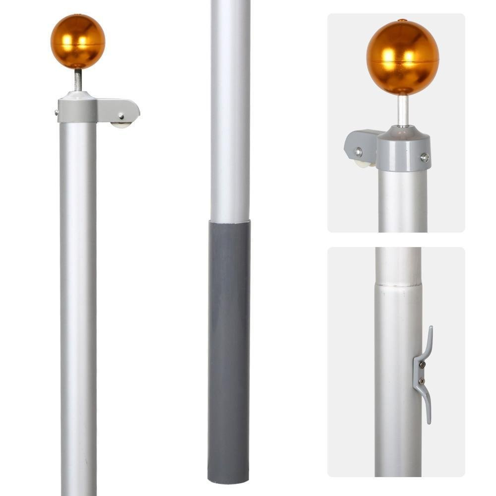 Yaheetech Heavy Duty Flag pole Gold Ball Outdoor Kit Halyard Patio Pole, 20ft ,with 2Pcs 3'x5' Flags by Yaheetech (Image #5)