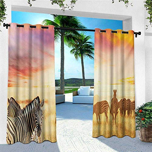 leinuoyi Safari, Outdoor Curtain Extra Wide, African Zebras at Fairy Sunset on The Grassland Wildlife Adventure Theme in Nature, for Pergola W120 x L96 Inch Multicolor