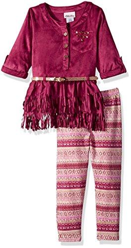 Fringe 2 Piece Set - Little Lass Girls' Toddler 2 Pc Suede Fringe Legging Set, Wine, 4T