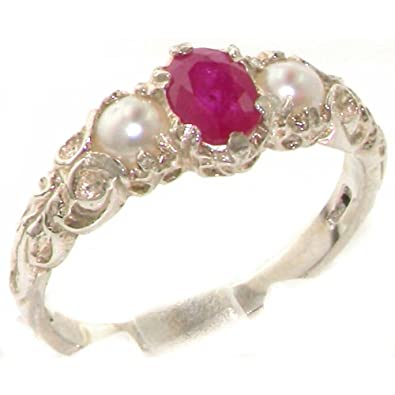 Ladies Solid 925 Sterling Silver Natural Ruby & Pearl Victorian Trilogy Ring C6LNKaO