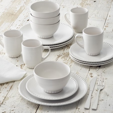Better Homes and Gardens 16-Piece Stoneware Beaded Dinnerwar