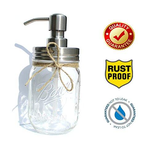 Decor Jar (The Southern Jarring Co. Rustproof Stainless Steel Mason Jar Soap Dispenser - Rustic Farmhouse Soap Pump for Mason Jar Decor)