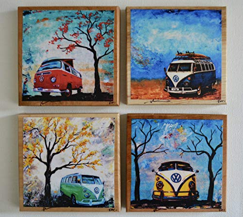 Fine Art Coasters, set of 4, VW Bus, Volkswagen Bus, drink coaster, wood, distressed, car, camper bus, fathers day, hippie, gift, man, men, present (Hippie Bus Vw)