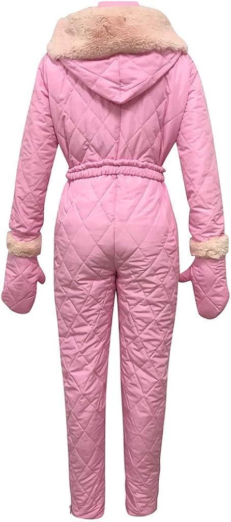 Outdoor Zipper Hooded Ski Suit Plus Velvet Thicken Windproof Waterproof Windbreaker Lazapa Women Winter Sports Jumpsuit