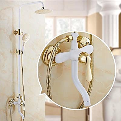 ETERNAL QUALITY Bathroom Sink Basin Tap Brass Mixer Tap Washroom Mixer Faucet The white and gold grill white paint shower Kit Full Brass Body Faucet Shower Water mixing valve A Kit