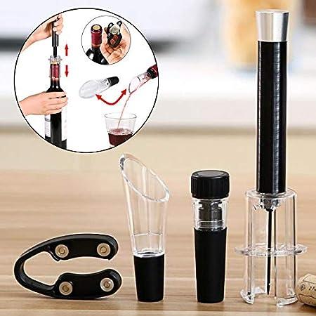 MagiDeal Juego de abridor de Botellas de Vino a presión con Bomba de Aire Que Incluye tapón de Corte, tapón de Corcho, Herramienta de Corcho, Pin de Acero - Estilo 1