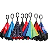 #5: BAGAIL Double Layer Inverted Umbrellas Reverse Folding Umbrella Windproof UV Protection Big Straight Umbrella for Car Rain Outdoor with C-Shaped Handle