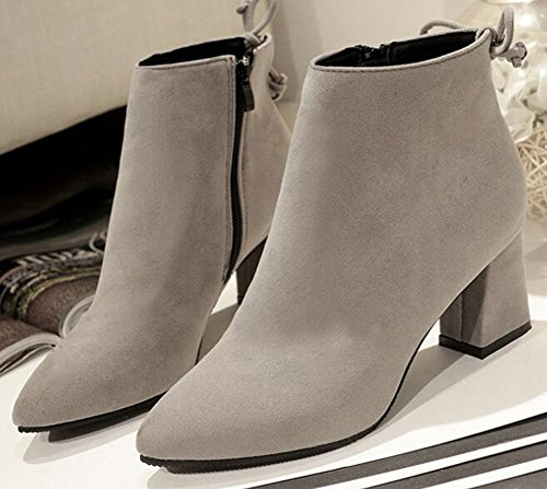 IDIFU Womens Vintage Bows Faux Suede Side Zip Up Ankle Boots Mid Chunky Heels Gray ogHJXAy5r