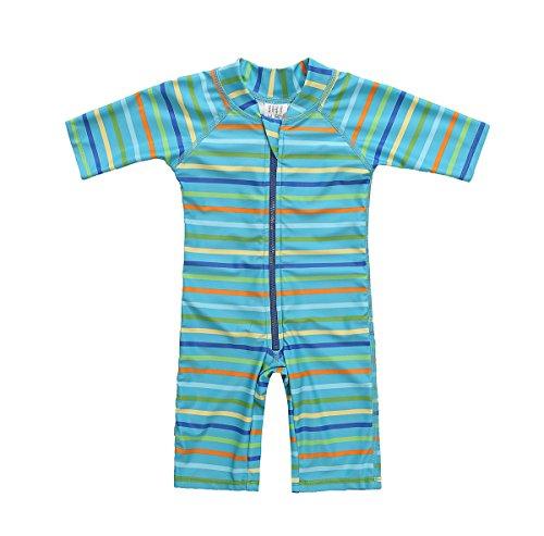 beautyin Toddler Baby One Piece Bathing Suit Short Sleeve UPF 50+ Zip Rash Guard Green (Salt Printing Chemicals)