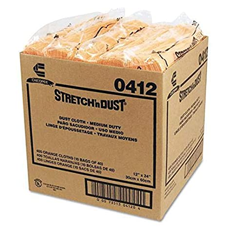 Pack of 40 Dust Clothes for Furniture, Printers, Electronics, No Spray Needed Chicopee 0412 Stretch n Dust, Medium Duty 24