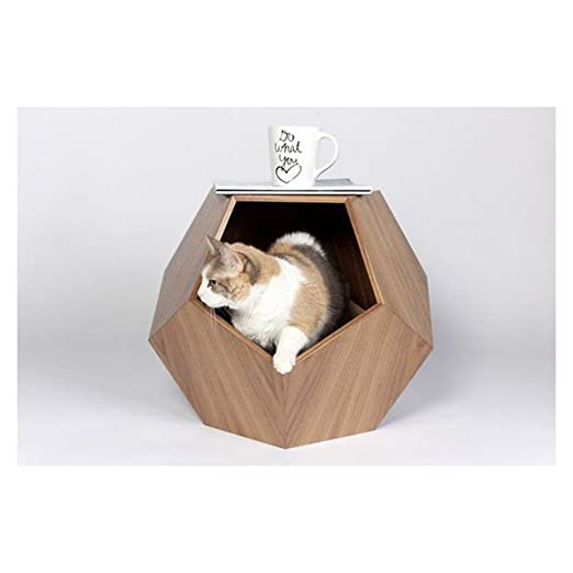 Amazon.com : Portable Outdoor/Indoor Cat Shelter For Feral Cat, Wooden Cat House Cat Nest Pet Beds Geometric Pet Cave Pet Cave Puppy Bed : Pet Supplies