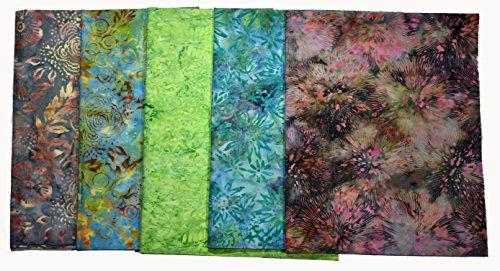 Kaufman Bali Batik (Bali Batiks Premium Batik Half Yard Cuts Pack of 5 (2.5 Yards total))