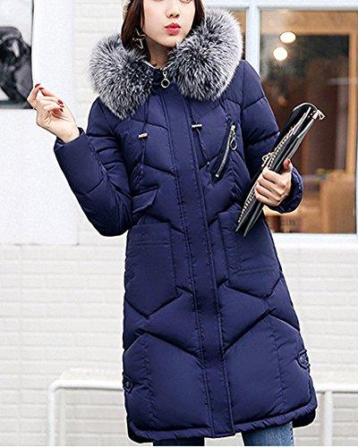 Cappotto Grande Blu Bavero Giù Sentire Vestiti Del Cotone Long Incappucciati Giacca Womens PxRXq0zn6