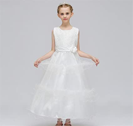 LUCKY-U Grils Dress Girls Flower Embroidered Dress Layered Formal Wedding Party Bridesmaid Prom Ball