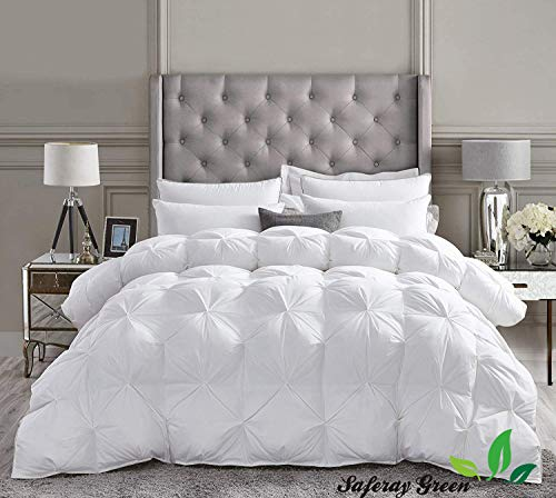 White All-Season Luxury – Hotel Collection – Pintuck Style 100% Organic Cotton Oversized King Size 116 x 98 Inches 1-Piece Pinch Pleat Comforter with 4 Corner Tabs, 500 GSM – Machine Washable