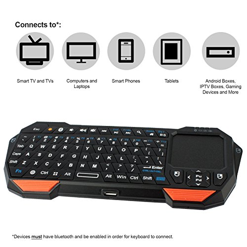 NEXspark Mira BT1 Bluetooth Mini Keyboard + Touchpad, Wireless with Comfort Grip + Rechargeable Battery (Media Keyboard With Touchpad)