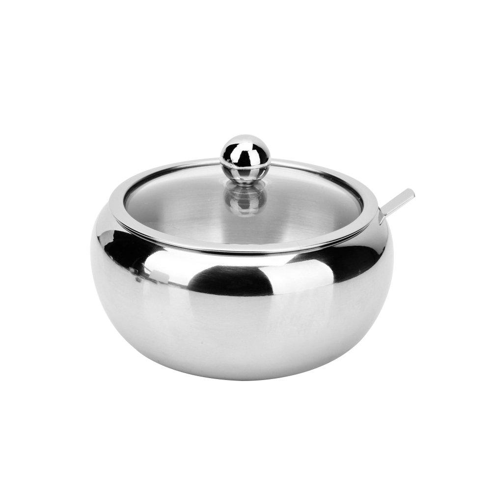 BESTONZON Azucarero//taz/ón de az/úcar de acero inoxidable con tapa olla de condimento y az/úcar cuchara para para hogar y la cocina talla S