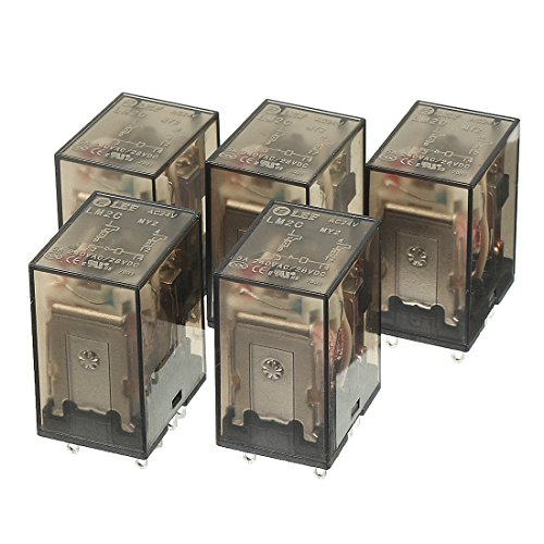 uxcell 5Pcs AC 24V Coil 5A 240VAC 28VDC DPDT 2NO+2NC 8Pin Power Electromagnetic Relay with Indicator Light (Vac Dpdt Relay 24)