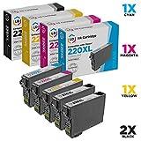LD Remanufactured Epson 220 / 220XL Set of 5 HY Ink Cartridges (2 Black 1 Cyan 1 Magenta 1 Yellow) for Expression XP-320, XP-420, XP-424 & WorkForce WF-2630, WF-2650, WF-2660, WF-2750, WF-2760