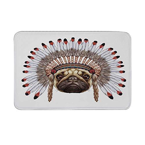 - Pug Non Slip Door Mat,Portrait of a Dog as a Native with War Bonnet Hand Drawn Illustration of Fun Animals Decorative Floor Mat for Bathroom Living Room,23