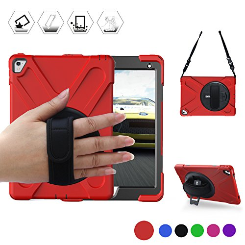 BRAECN iPad 9.7 Case for iPad Pro 9.7(2016) Case[Heavy Duty]Shockproof Rugged Armor Case with a 360 Degree Swivel Kickstand a Hand Grip Belt and an Adjustable Shoulder Strap case ipad pro 9.7(Red)