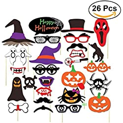 Tinksky 26pcs Halloween Photo Booth Props Happy Halloween Photo Props Kit for Halloween Party Favors