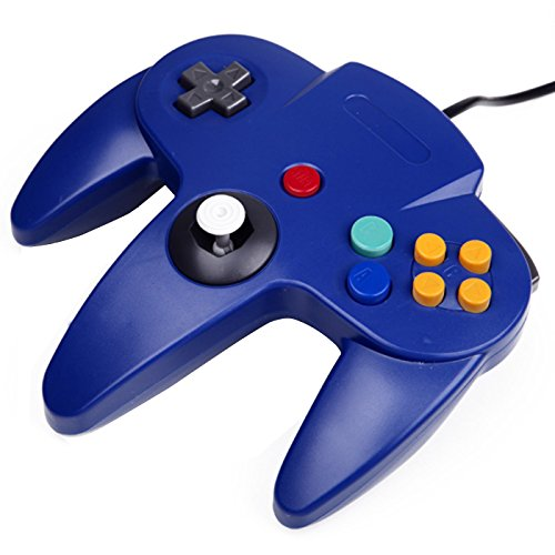 N64 Controller, Lilyhood Classic Wired Gamepad Joystick, N64 Bit Joypad for Nintendo 64 N64 Console Video Games System, Blue