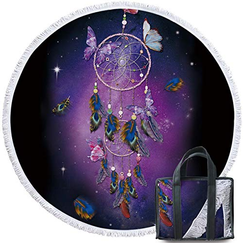Sleepwish Butterfly Dream Catcher Round Beach Blanket Towel Purple Tablecloth Round Circle Yoga Blanket Terry Quality with Tassels (Dreamy Galaxy, 60