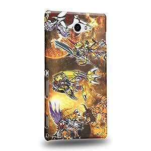 Case88 Premium Designs Digimon Adventure Augmon Greymon MetalGreymon WarGreymon 0939 Carcasa/Funda dura para el Sony Xperia M2