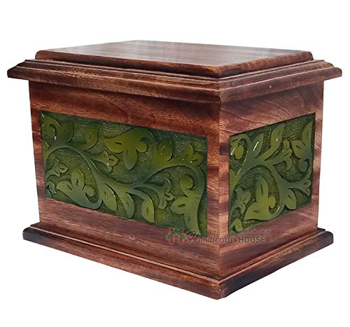 Handicrafts House Hands Engraving Tree of Life Wooden Cremation Urns, Wood Funeral Urn for Human or Pet Ashes Adult - Mangowood Memorial Box 270 cu/in (Green)