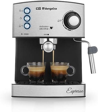 Orbegozo EX 3050 Cafetera espresso con bomba italiana de 20 bares de presión, frontal de acero inoxidable, 850 W, 2 cups, Negro mate: Amazon.es: Hogar
