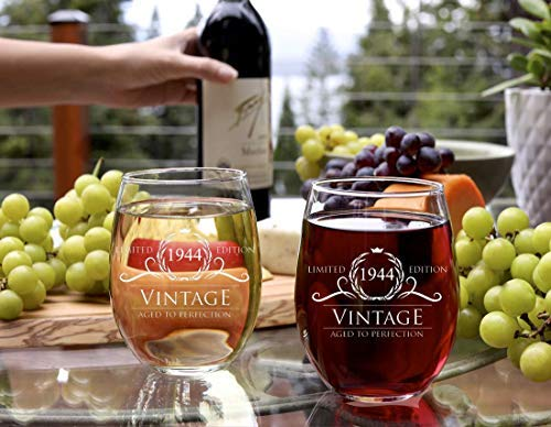 1944 75th Birthday Gifts for Women and Men Wine Glass Party Decorations Wines 15 oz Stemless Glasses Best Anniversary Gift Ideas Him Her Husband Wife Mom Dad Funny Vintage 75 Year Old Presents