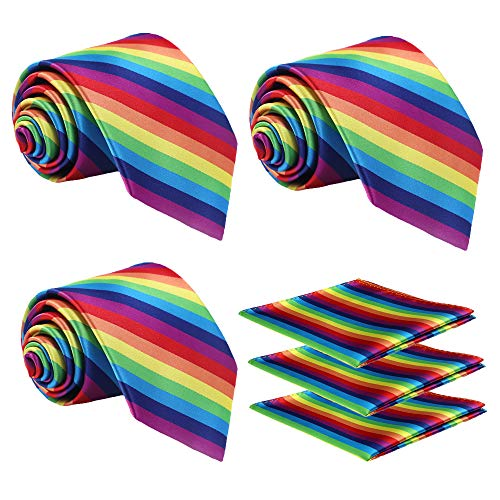 Fortunatever 3 PCS Solid Neckties,Rainbow Classical Striped Handmade Tie With Gift Box