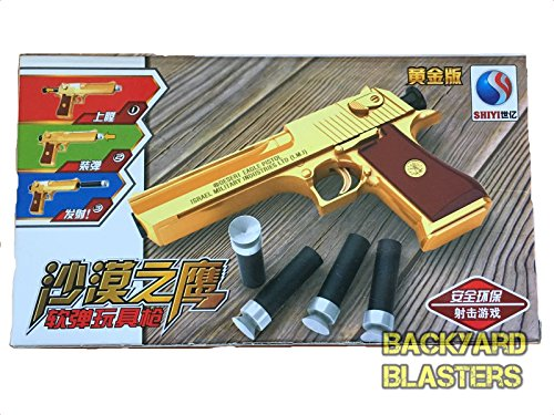 Backyard Blasters Golden Desert Eagle Toy Foam Dart Gun Desert Eagle Pistol