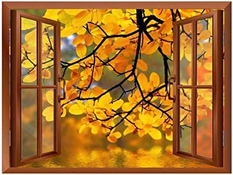 Modern Copper Window Looking Out Into a Yellow Tree Framing a Lake - Wall Mural, Removable Sticker, Home Decor - 24x32 inches