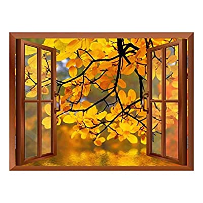 Copper Window Looking Out Into a Yellow Tree Framing a Lake Wall Mural