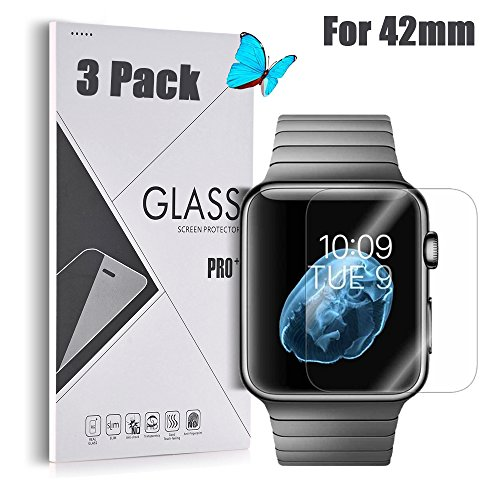 Price comparison product image Apple Watch 42mm [Tempered Glass] Screen Protector - GreenElec [0.3mm thickness 9H Hardness 2.5D Ultra-Thin Anti-Scratch Anti-Bubble] with Lifetime Replacement Warranty,  3 Pack