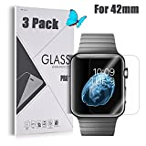 Apple Watch 42mm [Tempered Glass] Screen Protector - GreenElec [0.3mm thickness 9H Hardness 2.5D Ultra-Thin Anti-Scratch Anti-Bubble] with Lifetime Replacement Warranty, 3 Pack
