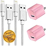 Boost Chargers 5W USB Power Adapter Wall Charger 1A Cube for Plug Outlet w/ 6.6FT 2M Nylon Braided Sync & Charger Cord Compatible for iPhone 8 / X / 7 / 6S / Plus + S More (Pink) 2 Pack