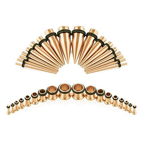 Fectas 14G-00G 36pcs Ear Gauges Stretching Kit Tapers Plugs Eyelets Implant Grade Steel Rose Gold
