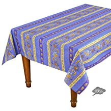"""52x72"""" Rectangular Lisa Blue Cotton Coated Provence Tablecloth by Le Cluny"""